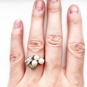 Vintage Avon silver & pearl / diamond cluster ring